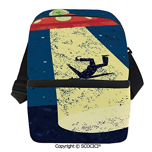 - SCOCICI Collapsible Cooler Bag Distressed Graphic of Alien Abduction of Human Science Fiction Image Insulated Soft Lunch Leakproof Cooler Bag for Camping,Picnic,BBQ