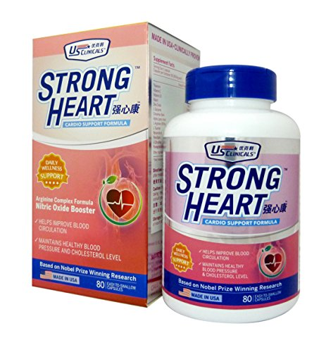 US ClinicalsTM StrongHeartTM • Nitric Oxide Booster • Helps improve blood circulation • Maintains healthy blood pressure and cholesterol level • Suitable for Vegetarians • 80 Capsules
