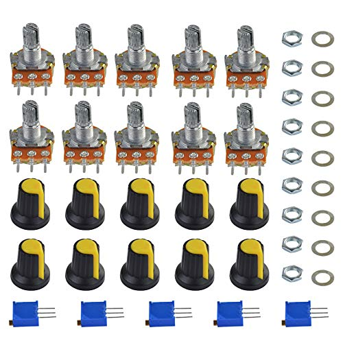 Yolyoo Potentiometer Assortment Kit, A Set of 1Kohm -100Kohm Multiturn Trimmer,1Kohm - 100Kohm Single Linear-High Precision Variable Resistor with Knobs and Mini Screwdriver