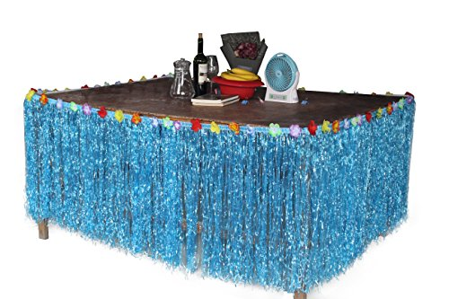 Tiki Girl Jewelry (Hawaiian Hibiscus Table Skirt with Color String & Silk Faux Flowers Party Decoration, Blue, 9 FT)