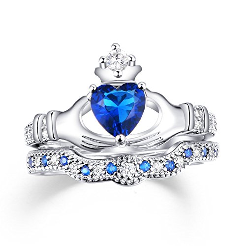 Gudukt Claddagh Ring White Blue Sapphire for Women Traditional Crystal Irish Ring Size 6