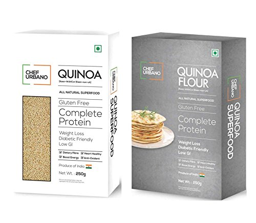 Chef Urbano Quinoa Higher Mineral Content Than Rice   Rich in Protien and Fiber   Diabetic Friendly   Aids Weight Loss   Gluten Free   Vegetarian   Non GMO, 500 g with Quinoa Flour 250 g Combo