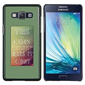LECELL--Funda protectora / Cubierta / Piel For Samsung Galaxy A5 A5000 -- Tiempo Coin Conde Cartel montañas Teal --