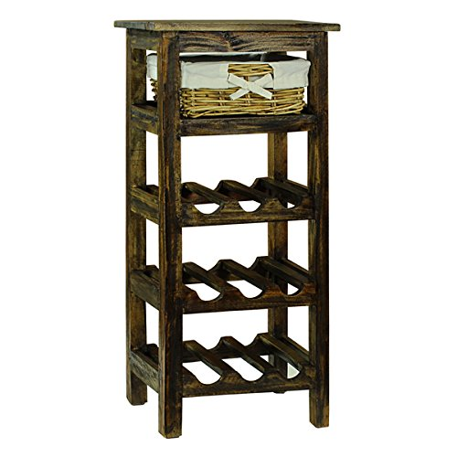 Sturdy Handmade Construction Monet Floor Wine Rack, Brown by Antique Revival