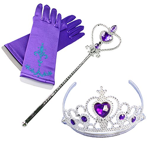 Costume Rapunzel's Mom (Fanryn Kids Girls Dress Up Party Costume Accessories,Full Finger Satin Gloves Tiara Crown Wand Scepter Set for Princess)