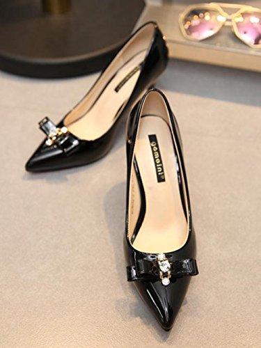 Inconnu Femme Escarpin Chaussures Mode Escarpins Pointus Talon Haut Pumps Vernis Nœud Clouté Stiletto Blanc 36 ux06gJ