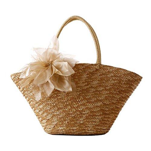 Donalworld Women Woven Straw Flower Silk Casual Beach Tote Shoulder Handbag (Hand Woven Handbag)
