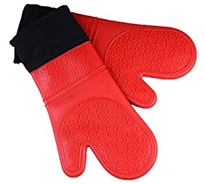 Byoung Professional Waterproof Silicone Oven Mitt Extra Long Oven Mitts Gloves 2 Pieces Red