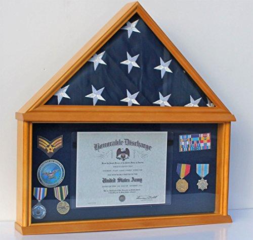 American 5'X9.5′ Military Flag Shadow Box (Flag Display Case), SOLID WOOD, FC07(BLU)-OA
