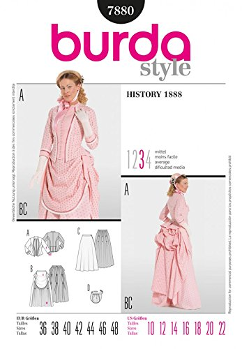 (Burda Ladies Sewing Pattern 7880 Historical 1888 Bustle Fancy Dress Costumes)