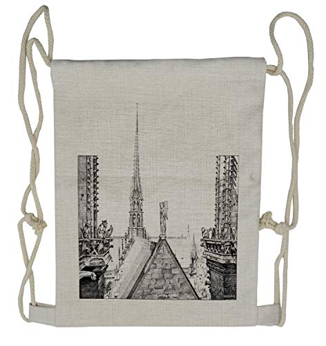 Ambesonne Notre Dame Drawstring Backpack, Ancient Monument Sketch, Sackpack Bag - Gym Dame Notre Bag