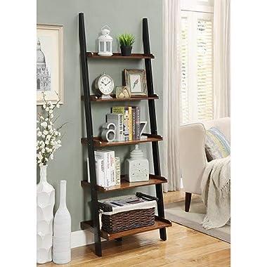 Convenience Concepts French Country Bookshelf Ladder, Dark Walnut & Black
