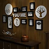 Peaceip US 9 Multi Picture Frame Set Wooden Black and White DIY Photo Picture Wall Frame Modern Large Wall Hanging Photo Frame Wall Decoration Painting, 137 x 68 cm (Color : #B)