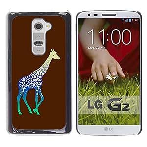 Be Good Phone Accessory // Dura Cáscara cubierta Protectora Caso Carcasa Funda de Protección para LG G2 D800 D802 D802TA D803 VS980 LS980 // Neon Giraffe