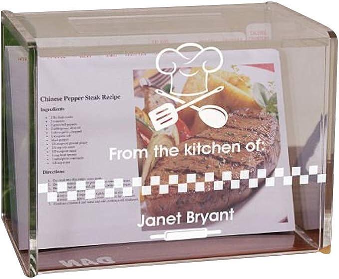 Grabado de la cocina de acrílico caja de recetas, Capacidad para 4 x 6 tarjetas: Amazon.es: Hogar