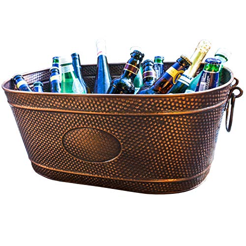 BREKX Copper Finish Galvanized Heavy-Duty Creighton Pebbled Beverage Party Tub - Large (Tubs For Large Metal Drinks)