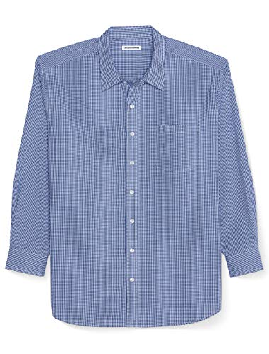 Amazon Essentials Men's Big & Tall Long-Sleeve Gingham Shirt fit by DXL, Blue-Mini, 2X