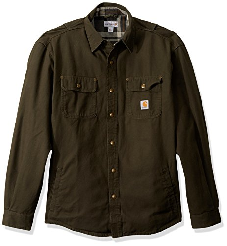 Carhartt Men's Weathered Canvas Shirt Jac Snap Front, peat, 2X-Large