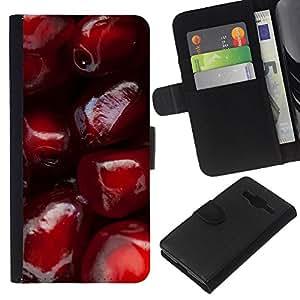 All Phone Most Case / Oferta Especial Cáscara Funda de cuero Monedero Cubierta de proteccion Caso / Wallet Case for Samsung Galaxy Core Prime // Pomegranate Red Fruit Juicy Tasty