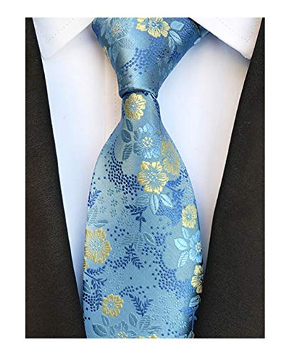 (L04BABY Men's Classic Blue Yellow Floral Paisley Tie Woven Jacquard Ties Necktie )