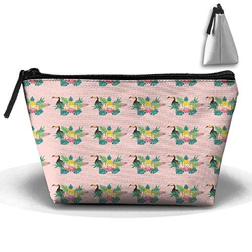 Pink Aloha Toucan Palm Leaves Trapezoidal Storage Toiletry Bag