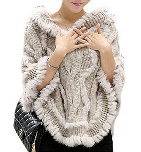 Manuertin Women Cape Sweater Bat Plus Size Hoodie Sweater Shawl Fur Coat BeigeOne Size