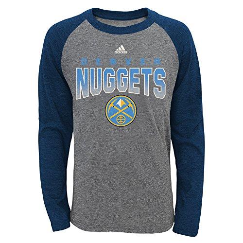 NBA Denver Nuggets Youth Boys 8-20 L/S Tri-Blend Raglan, Heather Grey, Small (8)