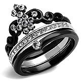 Women's Round Cut CZ Black Stainless Steel Crown Wedding Ring Set Size 5-10 (7)