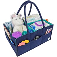 Baby Diaper Caddy Organizer by MI Risingstar - Large Nursery Storage Basket to Organize Newborn Essentials for Car Travel, Changing Table - Felt Tote Bag with Dividers - Baby Shower Gift - Boy or Girl