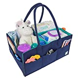 Baby Diaper Caddy Organizer - Portable Felt Bag for Nursery Storage Bins, Car Travel, Changing Table - Large Tote Bag with Long Handle - Gender Neutral Design for Newborn Boy or Girl