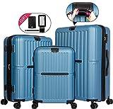 Cheergo Expandable Hardside Luggage Set 3 PCS Hardshell Spinner Suitcases with TSA Lock Luggage Tag and Strap