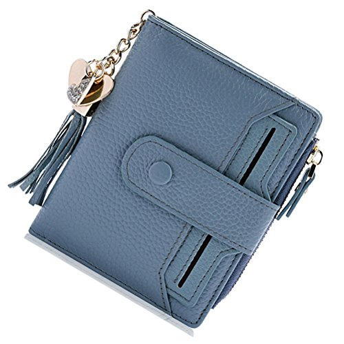 BOBILIKE Mini Leather Wallet Trifold Style Multifunction Compact Wallet Coin Purse Card Holder,Blue2 by BOBILIKE
