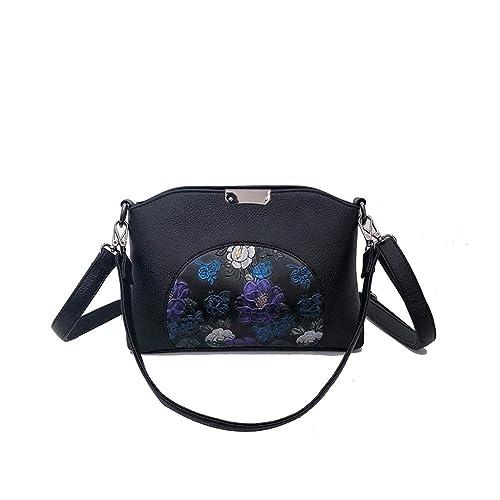 c40893e77 Mishuo Bolsos Bandolera Negro de Mujer Fiesta Vestir Bolso Hombro Piel  Pequeños Flores Elegantes Vintage Etnico
