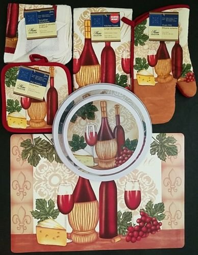 The Pecan Man Wine & Cheese Theme Everyday Decor Kitchen Set of 8, 1 OVEN MITT & 2 Pot Holders & 2 Dish Cloths & 1 Kitchen Towel & 1 Placemat & One set of Stove Top Covers