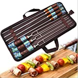 420 chocolate bar - LSRONG Barbecue skewer 7 pieces,Wooden Handle & Stainless Steel Metal BBQ Grilling Accessories Reusable