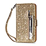 Case for iPhone XR 6.1 Inch, YiMiky Protective Case with Card Slots Money Clutch Cover Retro Vintage Bling Stand Case Smart Wallet Billfold Magnetic Sleeve for iPhone XR 6.1 Inch - Gold