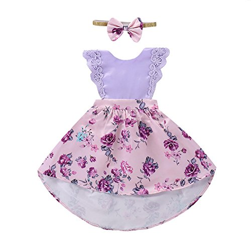 WOCACHI Toddler Baby Girl Dresses, Toddler Baby Gilrs Sleeveless Lace Ruched Dress Headband Floral Sundress Ouifit Back to School Easter Egg Costume Parade Bunny Lily Eggs Roll Cushaw -