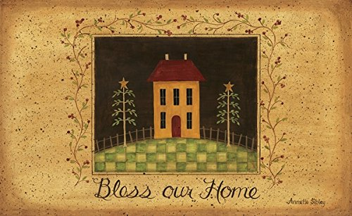 New Primitive Country BLESS OUR HOME House Berry Vine Floor Area Rug - Art Saltbox Folk House