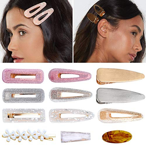 12Pcs Hair Clips Acrylic Resin Barrettes Women Big Alligator Pearl Gold Geometric Tortoise Glitter Hair Bobby Pins Ladies]()