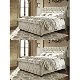 Ashley Furniture Signature Design - Willenburg Master Bedroom Set - Casual King Upholstered Bedset - Dark Brown