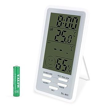 KEYNICE Termómetro Higrómetro Digital Medidor Temperatura y Humedad, Termómetro con Sensor para Hotel/Oficina