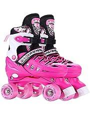 طفل او مراهق،زلاجات دوارة قابلة للتعديل مزدوجة، أحذية تزلج دوارة مزدوجة للأطفال باربع عجلات وتناسب الكبار للتزلج على الجليد