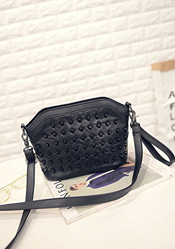 Handbag Bag Bag Shell Leather Body Soft Shoulder Moonsister Cross Everyday Rivet Genuine Fashion Black 0IxwqWg1PW