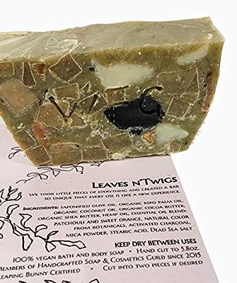 WATERFALL GLEN SOAP COMPANY - Leaves n'Twigs, patchouli & sweet orange, random pattern, bath soap with shea butter 5.8oz.