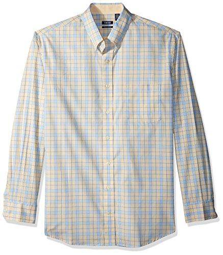 IZOD Men's Big Essential Check Long Sleeve Shirt (Slim), Sundress Blue, X-Large Tall (Rugby Dress Shirt)