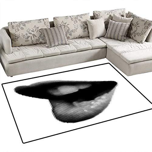 Modern Floor Mat for Kids Digital Dotted Spotted Stylized Sexy Happy Woman Lips Contemporary Display Bath Mat Non Slip 3'x5' Black Grey White