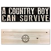 A Country Boy Can Survive | 4-inch by 12-inch Rustic Distressed Wood Sign | Southern Saying on USA Made Wooden Plaque