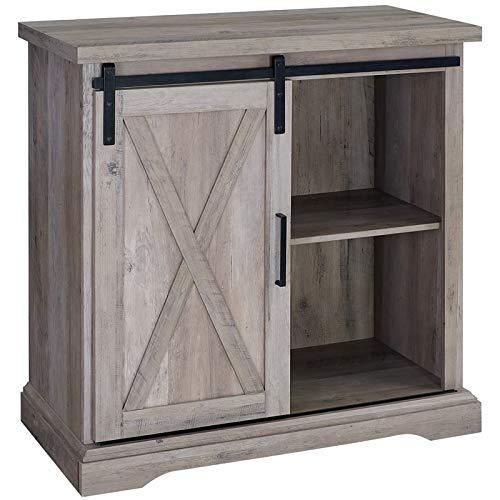 "Walker Edison Furniture Company 32"" Rustic Farmhouse Barn Door TV Stand - Grey Wash"
