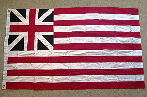 (AES 3x5 Grand Union Embroidered Cotton Flag First American Revolutionary War Flag House Banner Double Stitched Fade Resistant Premium Quality)