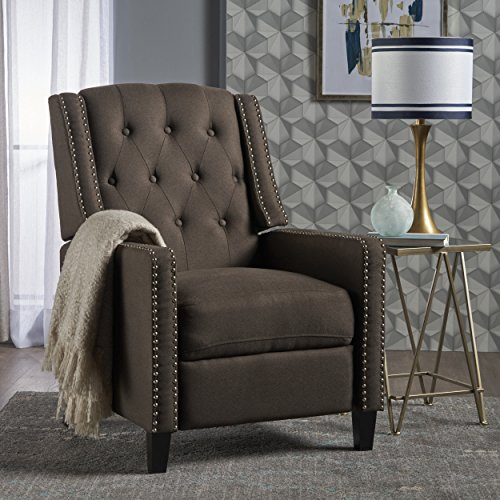 Ingrid Recliner Chair | Perfect for Living Room, Office | Nail Head Accent | Upholstered in a Coffee Fabric - Birch Reclining Recliner